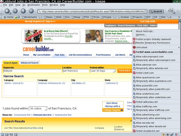 """Ten 3rd party tracking sites"""" content is included in CareerBuilder search results"""