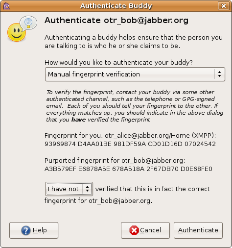 authentication dialog