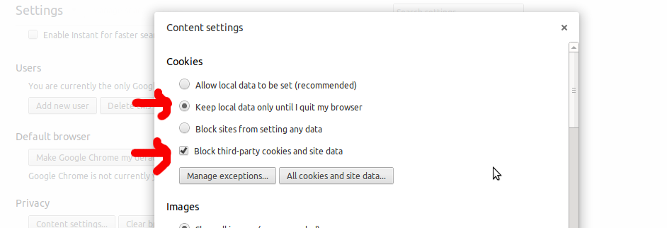 Chrome Content settings for Cookies