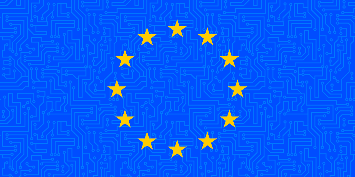European Union flag with circuitry in the background