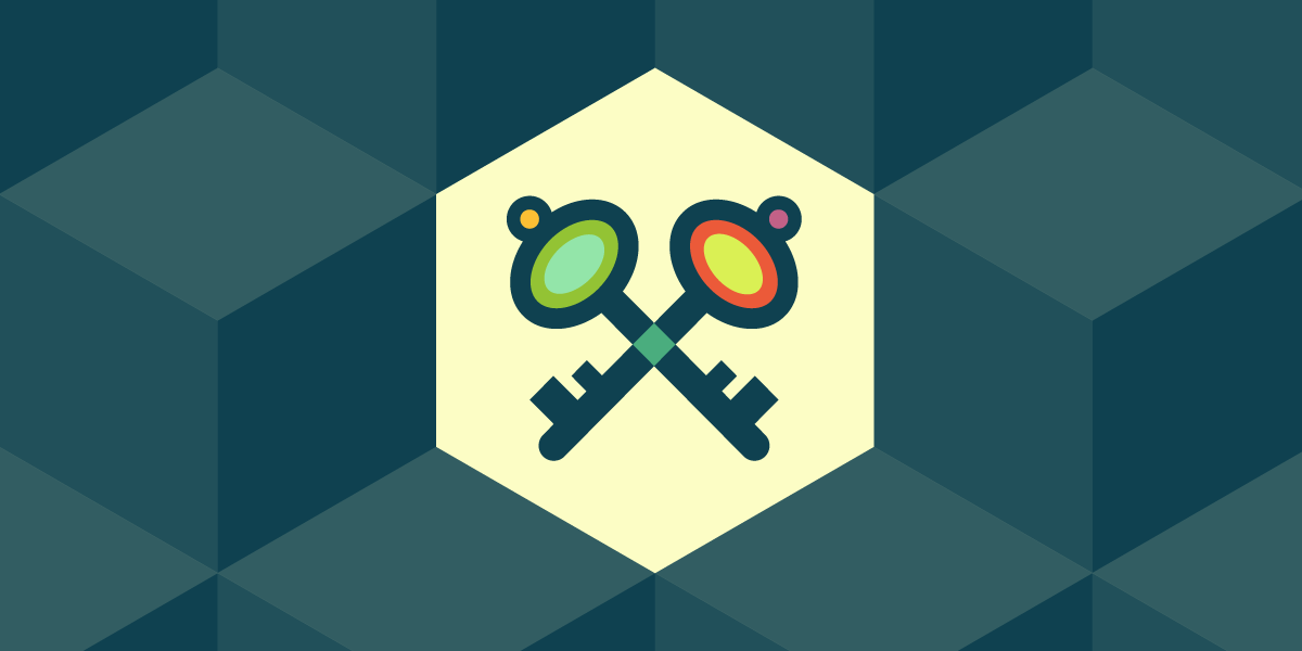 Security issues banner, a colorful graphic of two barrel keys forming an X
