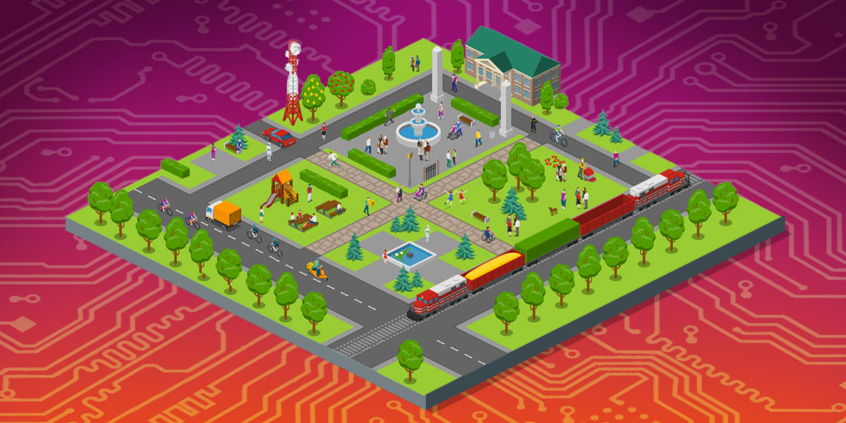 A town showing many public features (parks, transport, a library) with the backdrop of a circuit board.