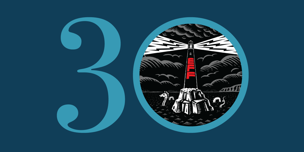 30 with an EFF lighthouse in the zero.