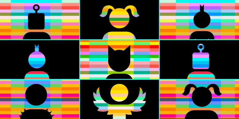 Colorful chatting figures