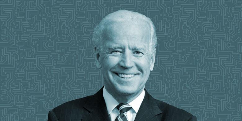 Joe Biden photo w circuit background