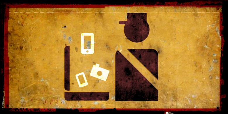 symbolic icon representing a border agent examining digital devices, superimposed over an old, rusting sign