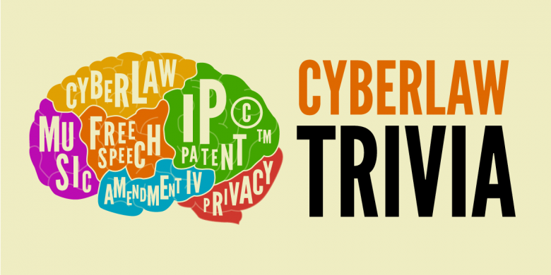 CyberLaw Trivia Banner with a multicolored brain