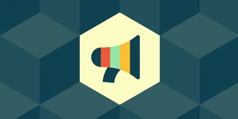 A multi-colored bullhorn icon surrounded by grey-blue hexagons