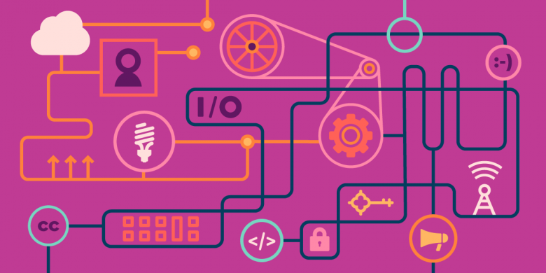 purple background with diagram of technologies working together