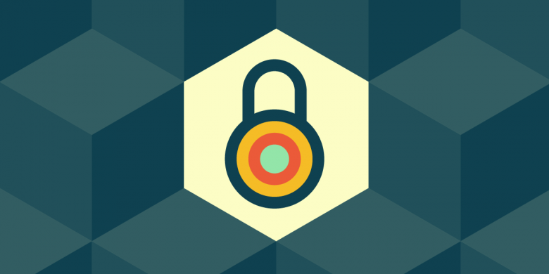 Privacy issue banner, a colorful graphical representation of a padlock
