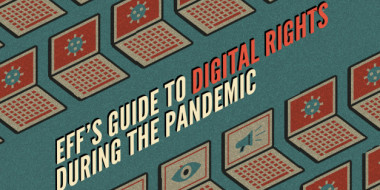 "Front page of ebook, with the title ""EFF's guide to digital rights during the pandemic"""