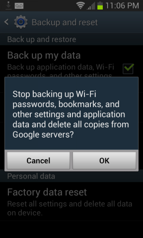 Turning off Android Backups