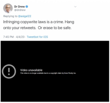 """tweet from Dr. Drew reading """"Infringing copywrite laws is a crime. Hang onto your retweets. Or erase to be safe"""""""