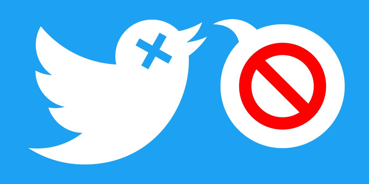Twitter bird logo, unable to speak