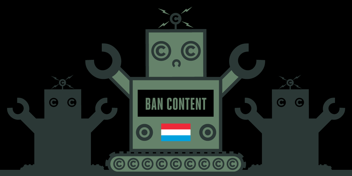 luxembourg flag and robot