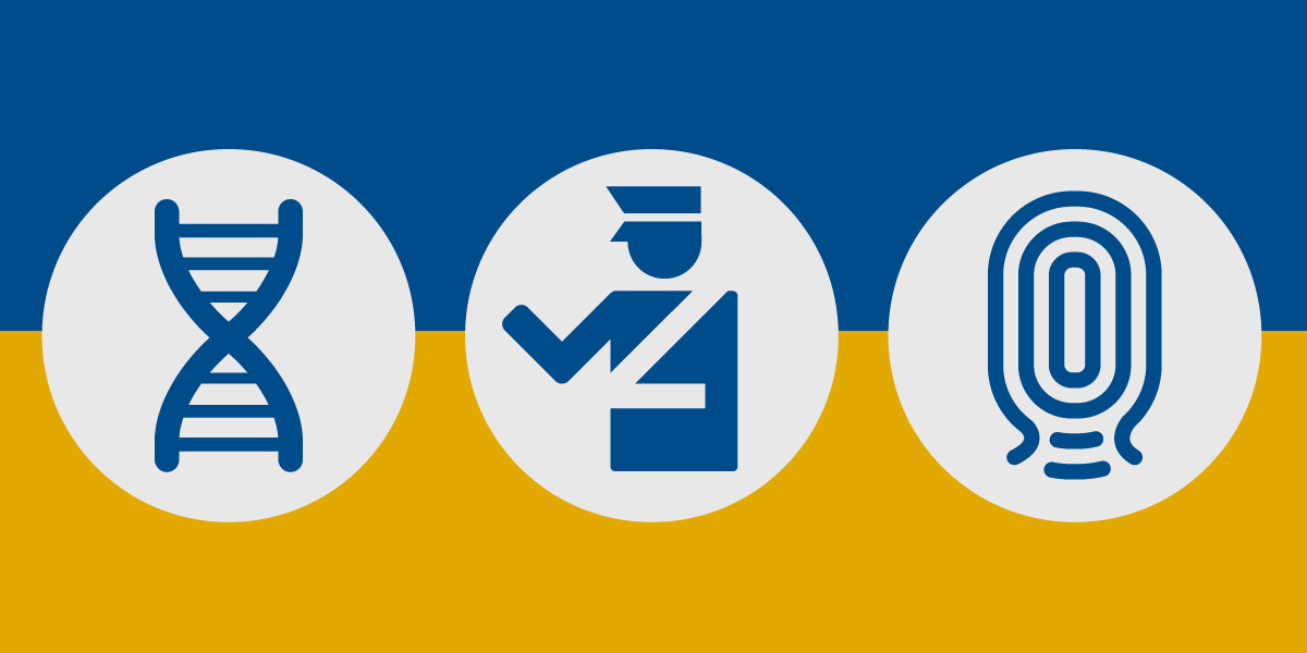 3 icons against a blue and gold background: DNA, Border agent, and thumbprint