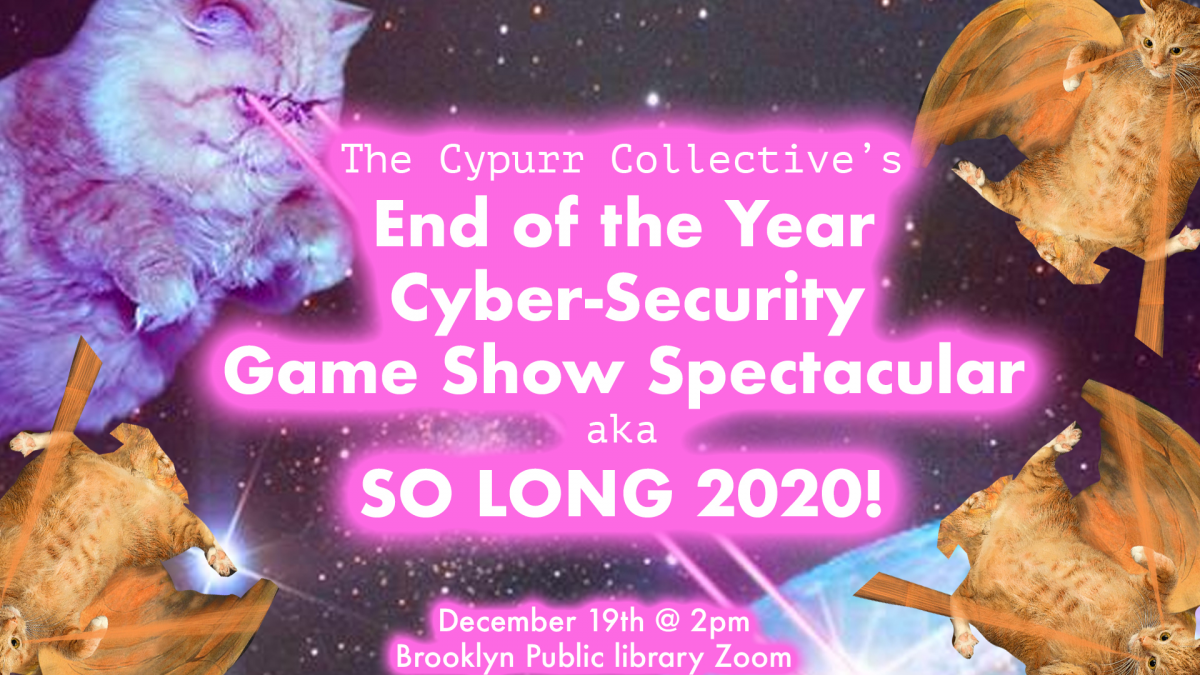 Flying cats in space shooting lasers out of their eyes, with pink text with the event title and date