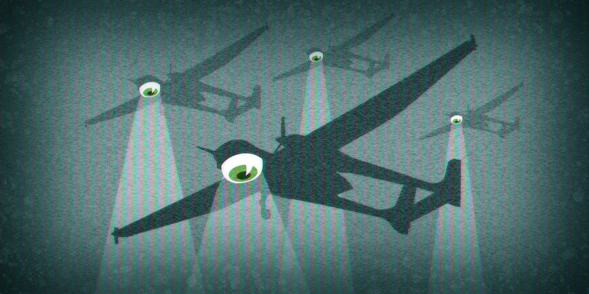 Several spying drones with eyeballs
