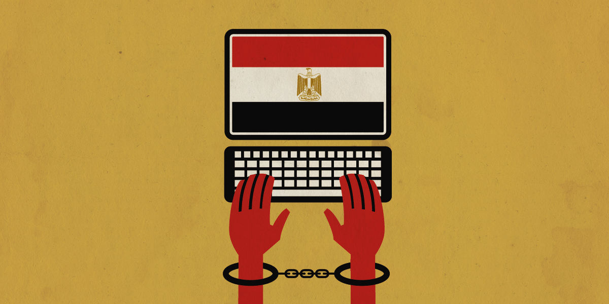 shackled hands on keyboard, with Egypt flag
