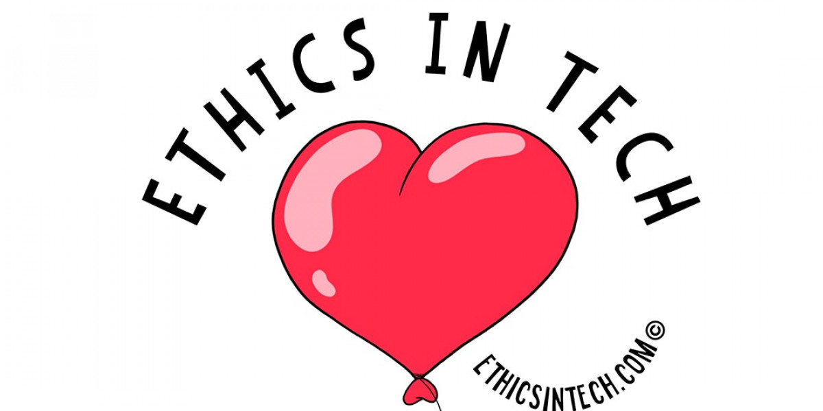 A red, heart-shaped balloon. underneath 'Ethics in Tech' written in black text