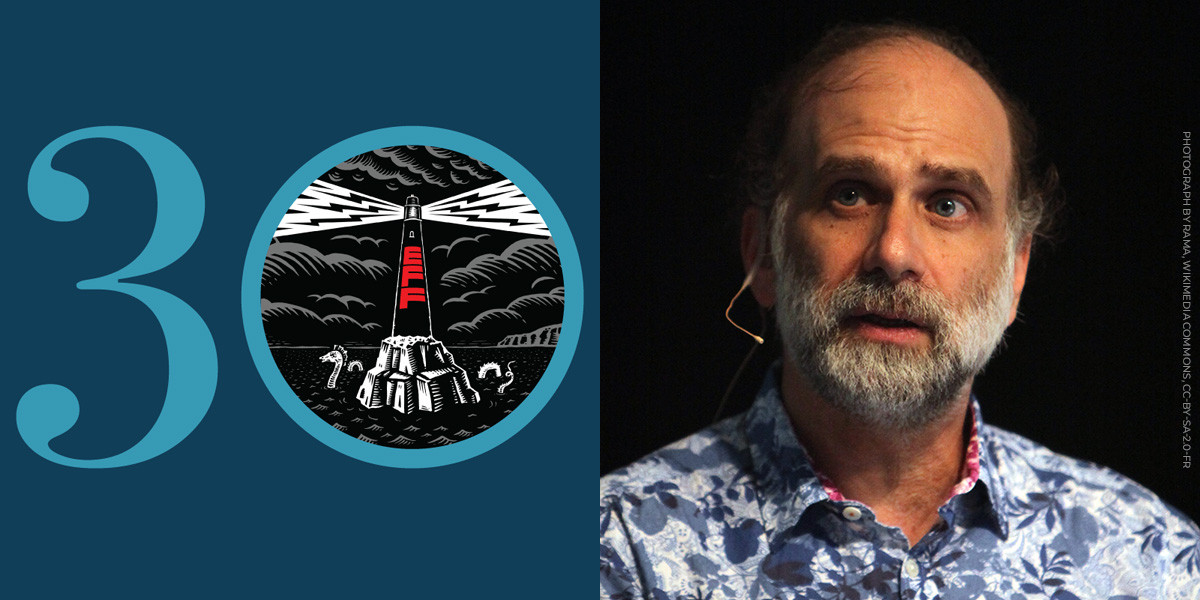 Blue EFF 30 next to a photo of Bruce Schneier