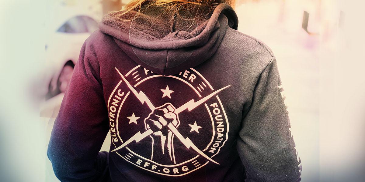 EFF Staffer wearing EFF hoodie
