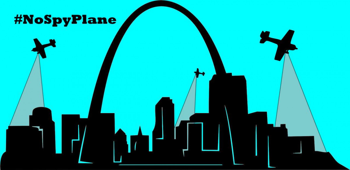 Artistic representation of silhouetted St Louis sky line with three lightweight aircraft flying over the city with gray cones extending from the plane implying video surveillance