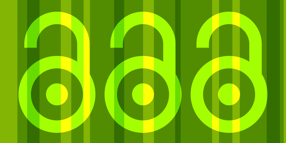 Three Open Access logos on a green stripe background
