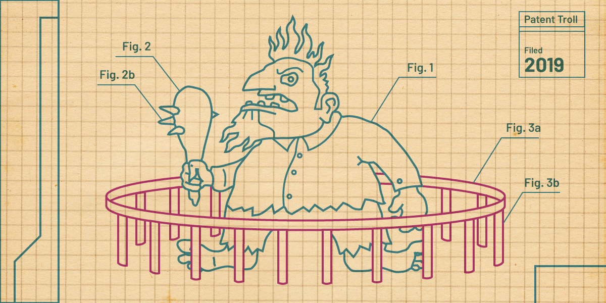A line drawing on graph paper depicting a troll encaged in a low cage from which escape would be easy.