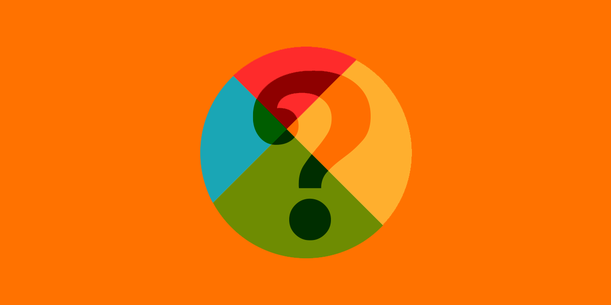 QTTD logo, question mark, on orange background