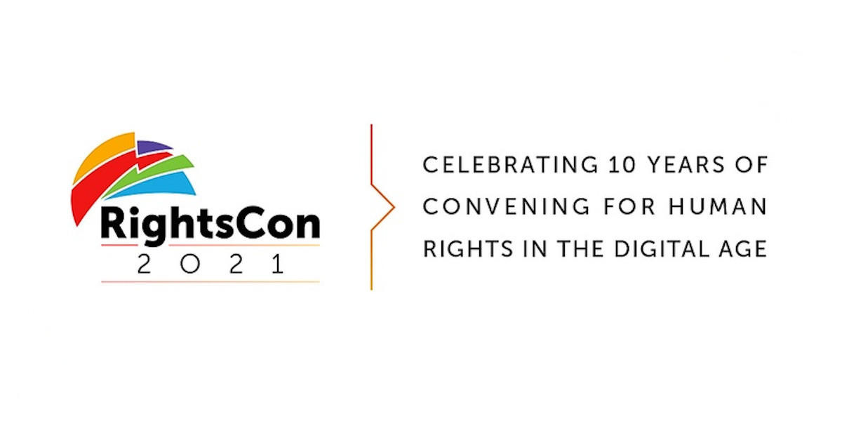 """RightsCon 2021 logo and text: """"celebrating 10 years of convening for human rights in the digital age"""""""