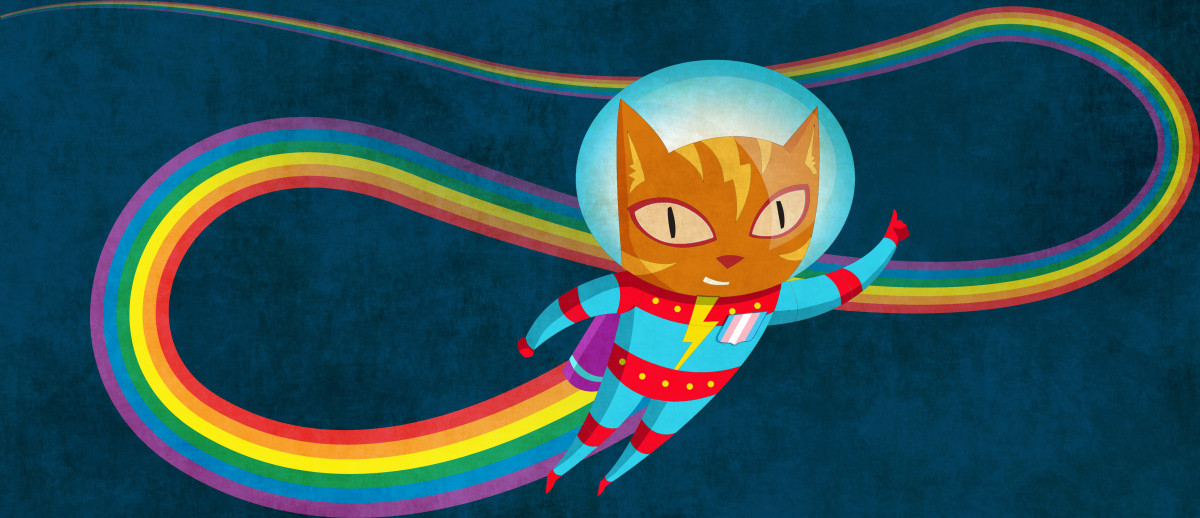 Cat Astronaut Soars Through Cyberspace, Leaving a Glowing Rainbow Trail