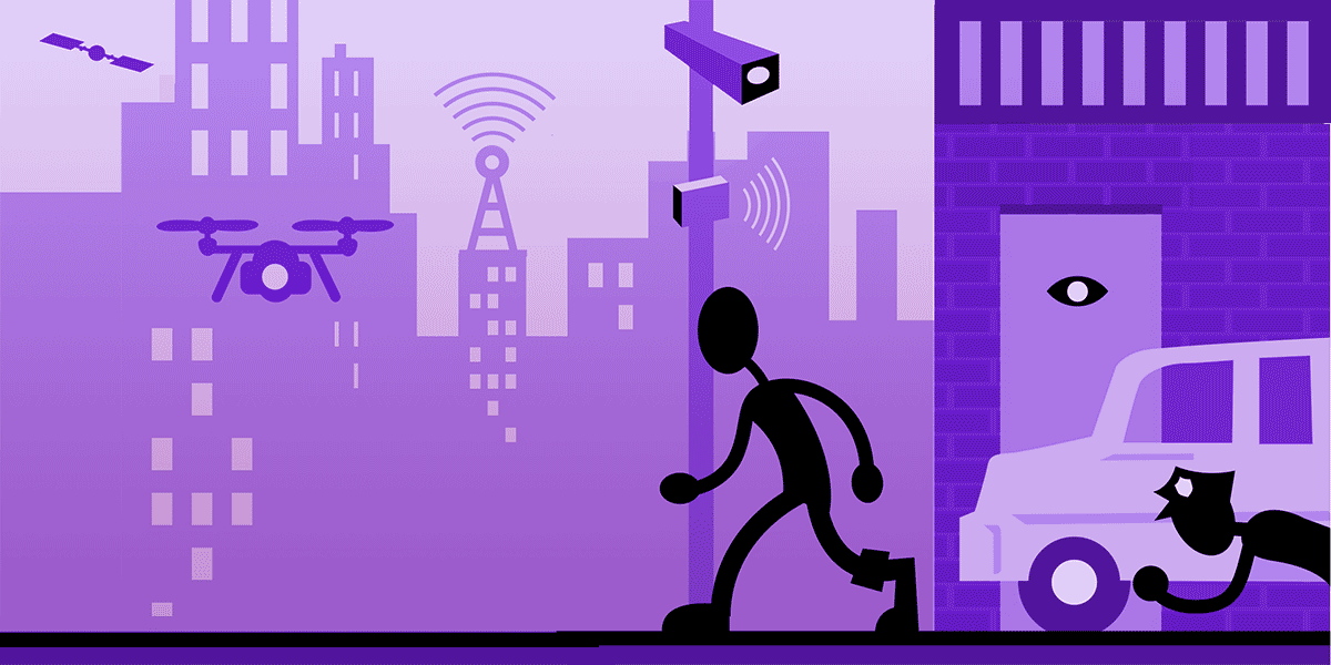 A cityscape with surveillance