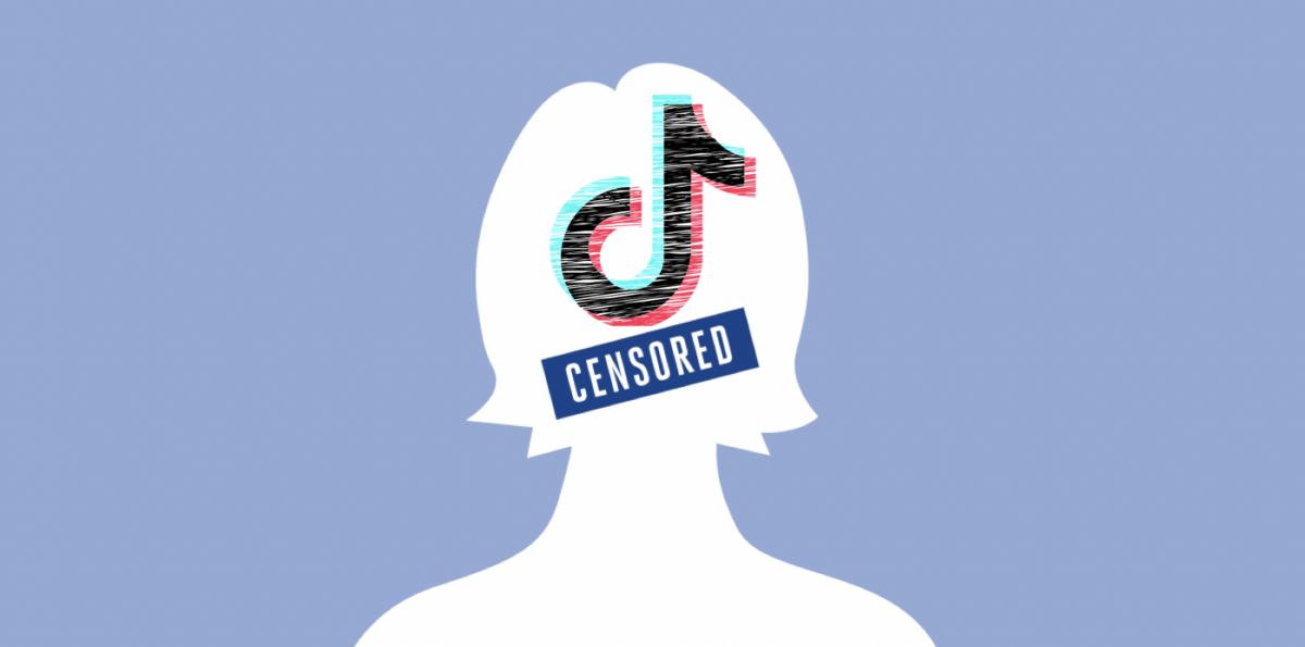 White sihouette of a person on blue background with TikTok logo and censored sticker over face