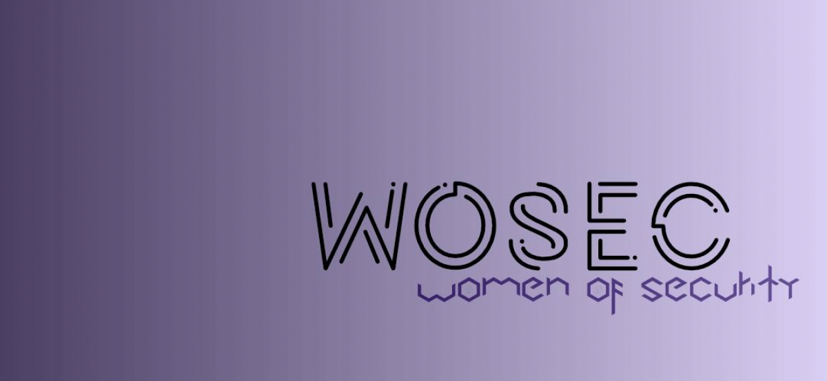 "Purple gradient banner that reads ""WOSEC Women in Security"""