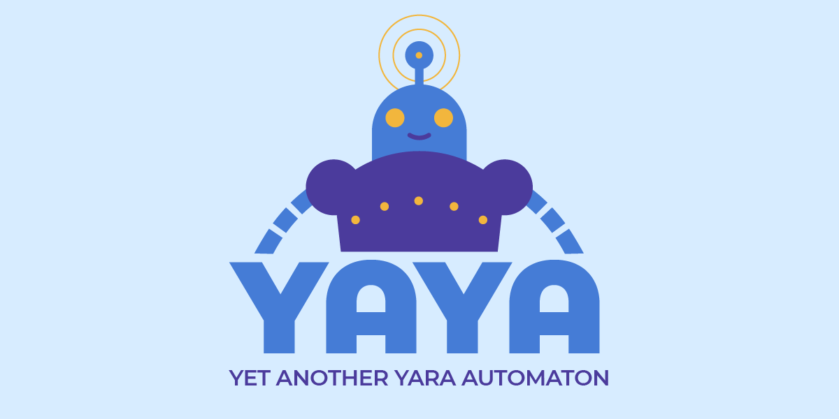 The YAYA logo and automaton mascot