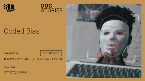 Film and serises title, and time and dates of screenings and Q&A on a brown background. To the right of the text is a stil image of a Black Woman with white mask over her face.