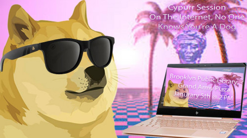 "Picture of a Gloden Fluffy Dog wearing sunglasses with palm tress in the background. The Dog is looking at a laptop. The text on the laptop reads ""Brooklyn Public Library, Grand Army Plaza, January 5th, @2pm."""