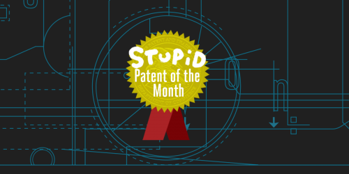 "Badge reading ""Stupid patent of the month"" with dark schematic background"