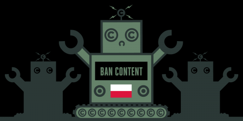 Poland flag with robot