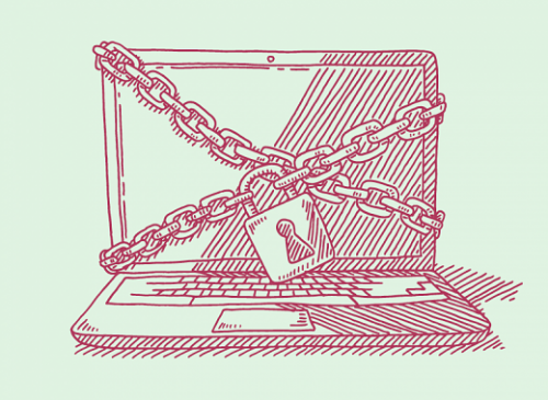 a monitor wrapped in chains and padlocked