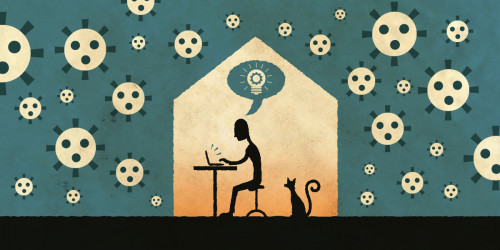 A person using a laptop inside a house; outside are viruses