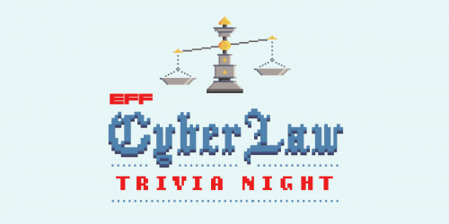 CyberLaw Trivia Banner with a weighing scale in a pixel art format