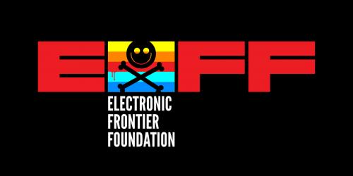 EFF logo with DEF CON 29 logo over flag