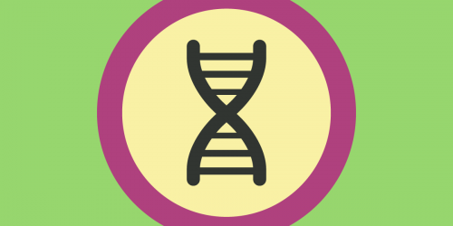 A DNA icon in a circle
