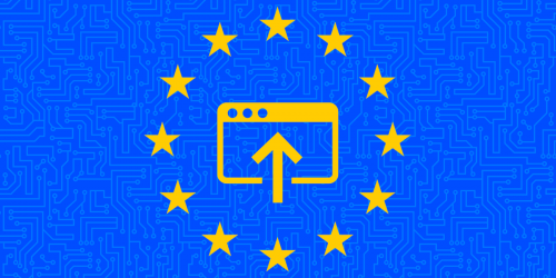 European Union flag with upload icon in center