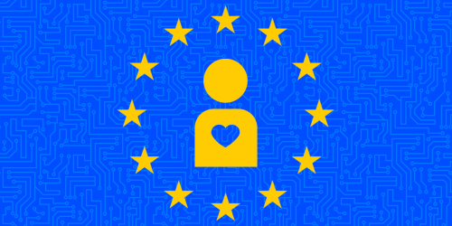 European Union flag with icon of person with a heart in center
