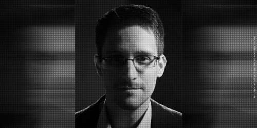 NSA whistleblower Edward Snowden in black and white