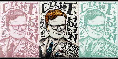 "An ink illustration. The text says: ""Elliot Harmon, 1981-2021, activist, writer, friend."""
