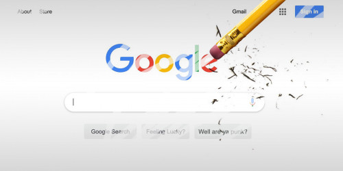 Google search window being erased by a pencil